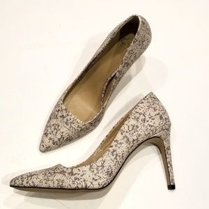 Ann Taylor | Leather Snake Print Pointed Toe Heel
